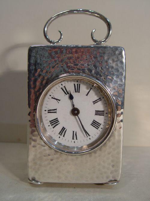 a 1903 large silver 8day birmingham hallmarked timepiece clock by henry matthews