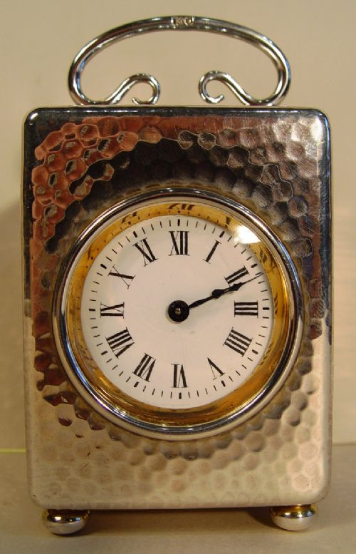 a 1904 small silver 8day london hallmarked timepiece clock