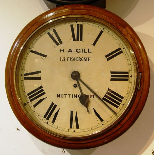 a fine quality english late victorian mahogany 14inch dial clock retailed by h agill