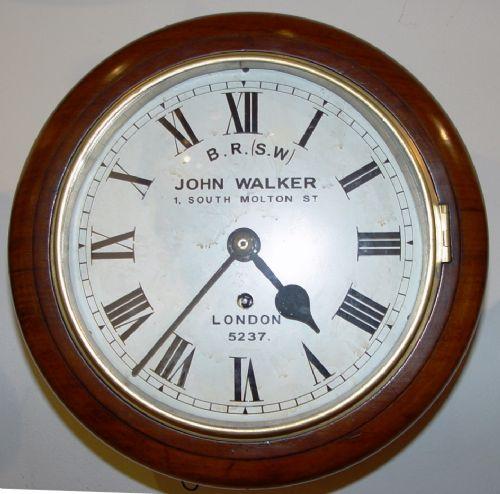 an english victorian mahogany 8inch original railway dial clock by john walker