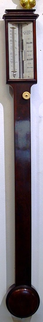 s p cohen 105 buchanan st glasgow a 19th century figured mahogany cased stick barometer