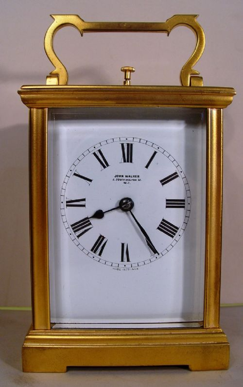 a john walker retailed 19th cent french gilt bronze anglaise cased repeating carriage clock