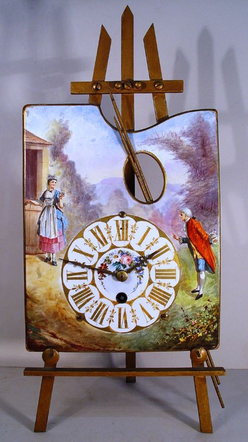 an 8day french porcelain late 19th century easel mantel clock