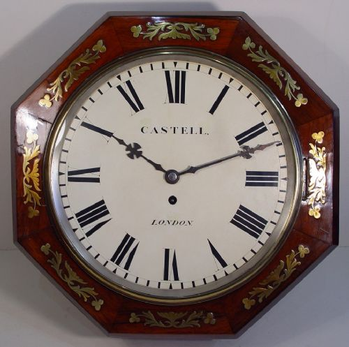 an octagonal english late victorian rosewood and brass inlay 12inch dial clock