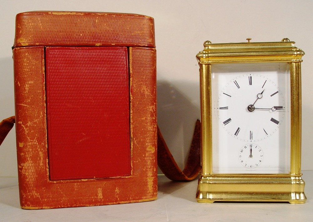 a 19th century french gilt bronze gorge case repeating carriage clock with box