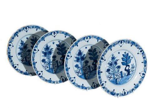 four 18th century blue and white delft plates circa 1790