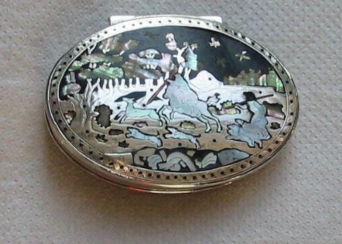 georgian silver mother 0'pearl tortoishell pique snuffbox
