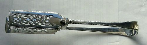 victorian sterling silver serving tongs