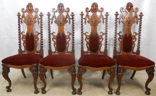 george morant set of four gothic revival oak side chairs