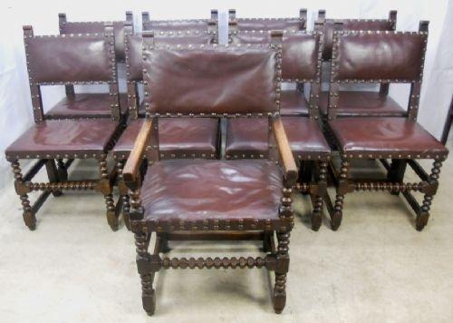 Set Of Nine Oak Cromwellian Style Leather Studded Dining Chairs