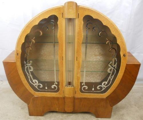 art deco maple walnut large china cabinet