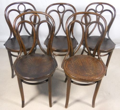 Set Of Five Bentwood Cafe Chairs By Thonet