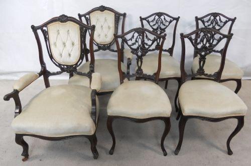 edwardian carved mahogany six piece salon suite
