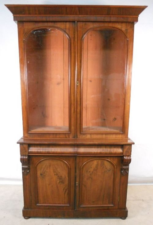 victorian two door mahogany bookcase cabinet