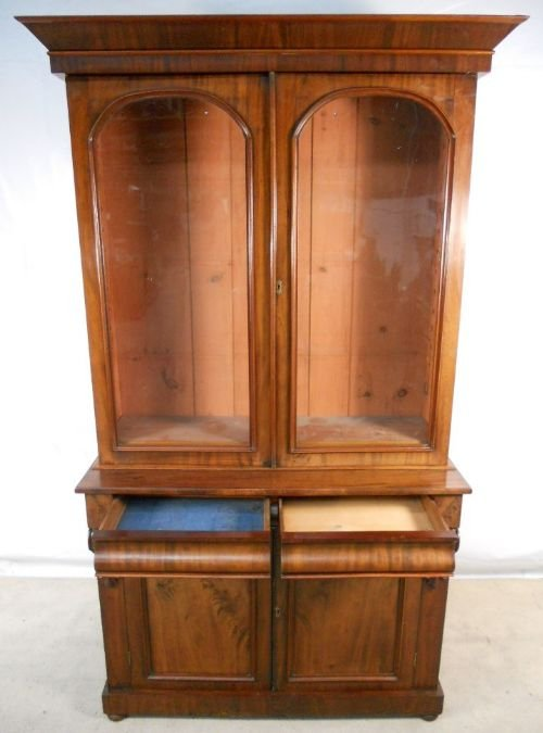 victorian two door mahogany bookcase cabinet - photo angle #3