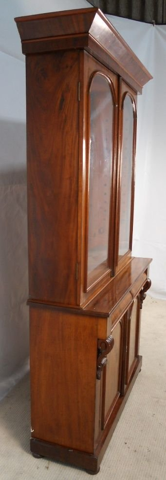 victorian two door mahogany bookcase cabinet - photo angle #5
