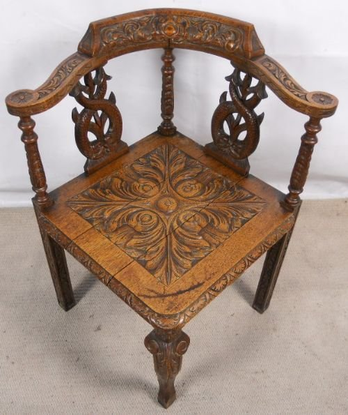 victorian carved oak corner chair