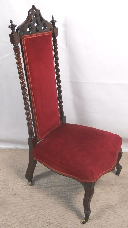victorian rosewood tall back carved prayer chair. antique photo - Victorian Rosewood Tall Back Carved Prayer Chair 132979