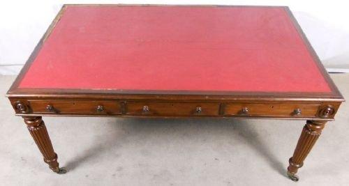 william iv large mahogany six drawer writing table