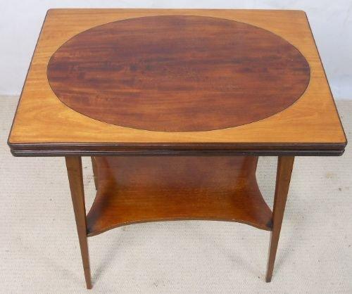 edwardian inlaid mahogany fold over card table
