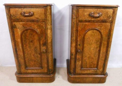 pair victorian burr walnut bedside cabinets