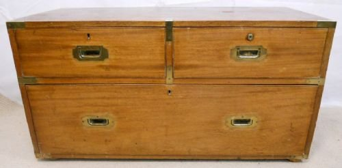 regency teak campaign chest coffee table - photo angle #2