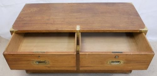 regency teak campaign chest coffee table - photo angle #5