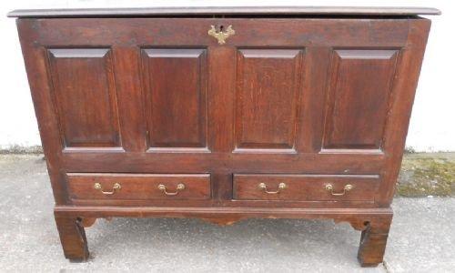 large jacobean period panelled oak mule chest
