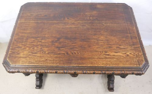 victorian carved oak centre table - photo angle #2
