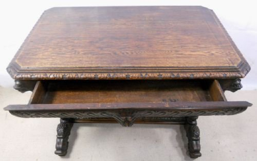 victorian carved oak centre table - photo angle #3