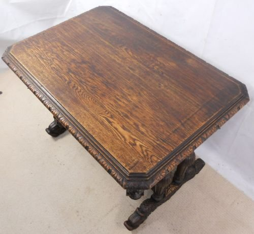 victorian carved oak centre table - photo angle #5