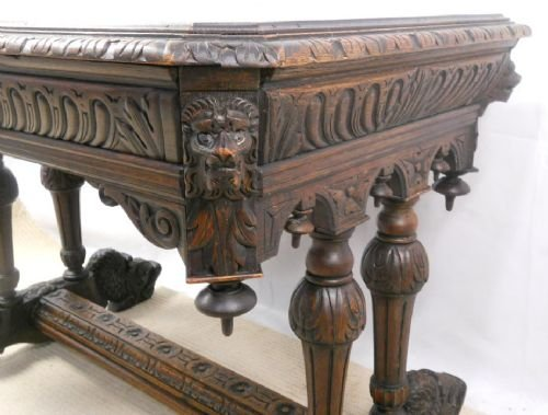 victorian carved oak centre table - photo angle #7