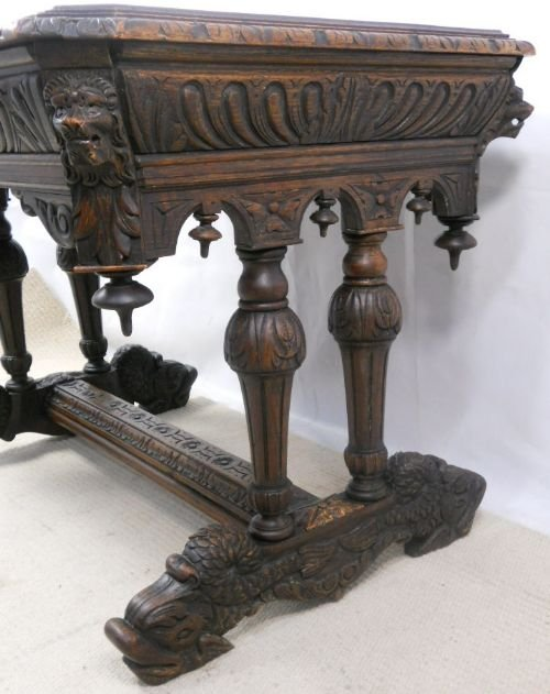 victorian carved oak centre table - photo angle #9