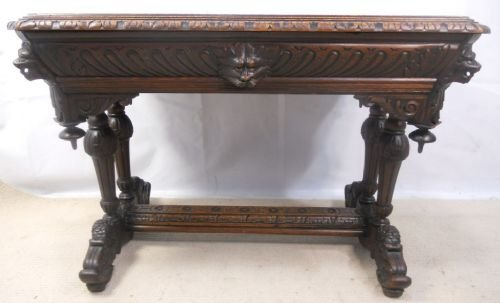 victorian carved oak centre table - photo angle #12