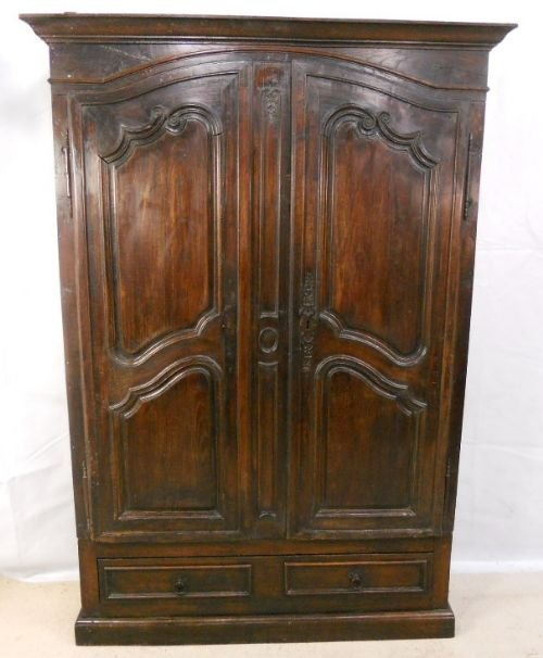 French carved fruit wood hanging two door wardrobe