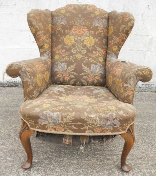 Queen Anne Style Wingback Fireside Armchair For Re Upholstery 135525 Sell
