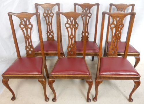 set of six chippendale style oak highback dining chairs