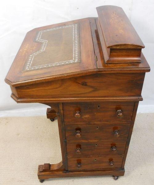 victorian inlaid walnut davenport writing desk - Victorian Inlaid Walnut Davenport Writing Desk 167611