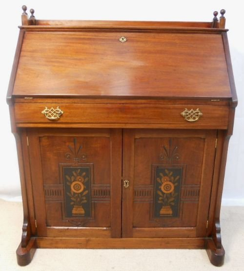art nouveau mahogany writing bureau desk 170284. Black Bedroom Furniture Sets. Home Design Ideas