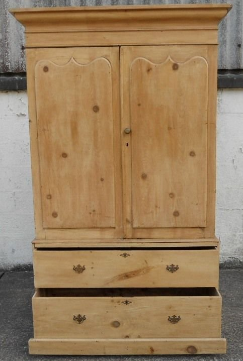 victorian pine hanging linen press cupboard - photo angle #2