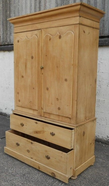 victorian pine hanging linen press cupboard - photo angle #3