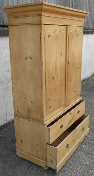 victorian pine hanging linen press cupboard - photo angle #4