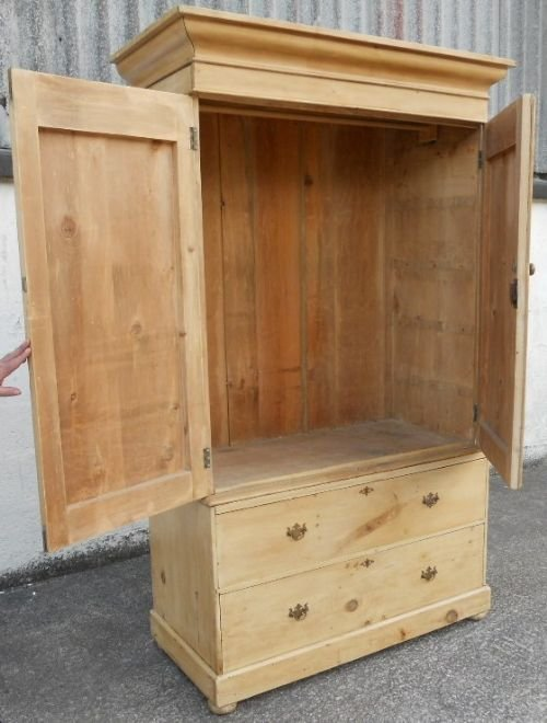 victorian pine hanging linen press cupboard - photo angle #7