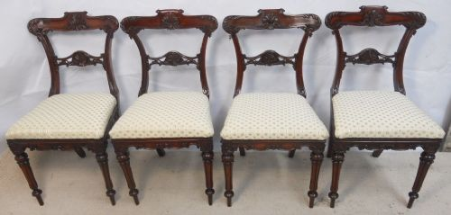 quality set of four victorian carved mahogany dining chairs