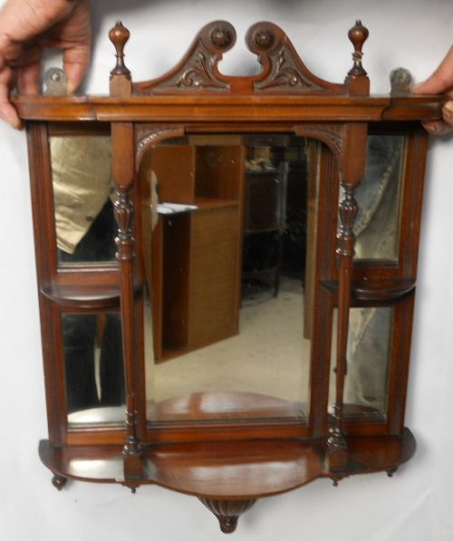 Edwardian Small Mahogany Hanging Mirror Display Shelf 181241