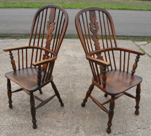 two victorian elm kitchen windsor armchairs