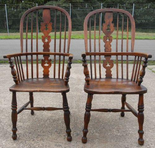 Kitchen Armchairs: Two Victorian Elm Kitchen Windsor Armchairs