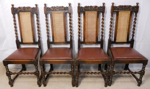 Set Of Four Jacobean Style Barley Twist Oak Highback Dining Chairs