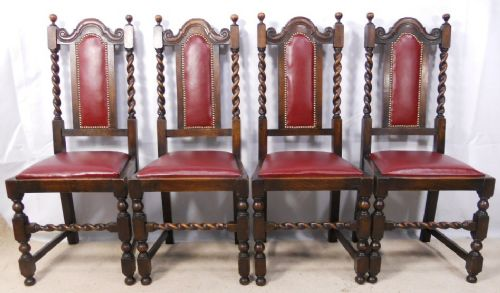 Set Of Four Jacobean Style Barley Twist Oak Dining Chairs 190475