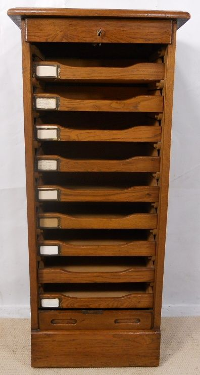 oak roll front filing cabinet | 190477 | sellingantiques.co.uk